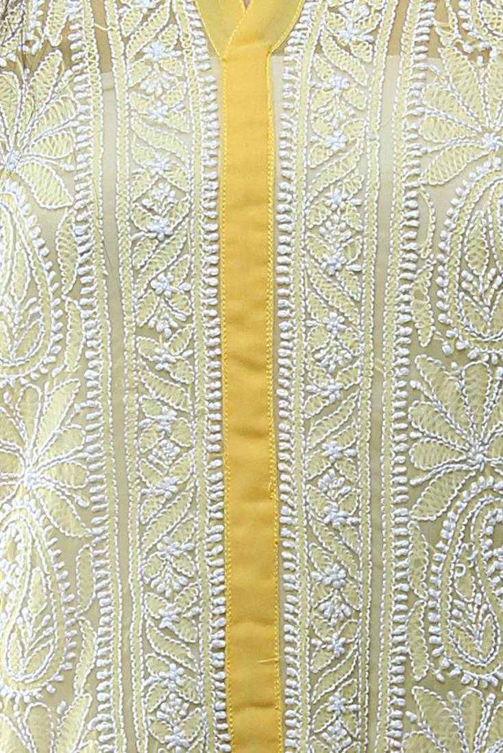 Buy Ada Hand Embroidery Lakhnavi Casual Large Yellow Faux