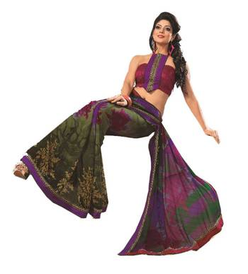 Bollywood Designer Weightless Georgette Saree With Elegant Border & Blouse Piece 4015B
