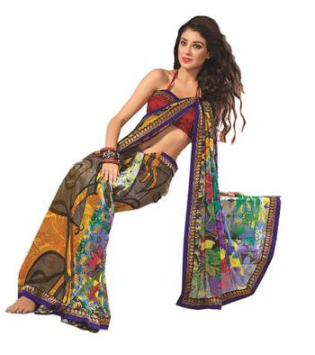 Bollywood Designer Weightless Georgette Saree With Elegant Border & Blouse Piece 4020A