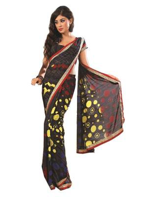 Bollywood Designer Weightless Georgette Saree With Elegant Border & Blouse Piece 4021B