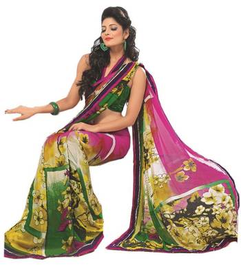 Bollywood Designer Weightless Georgette Saree With Elegant Border & Blouse Piece 4022B