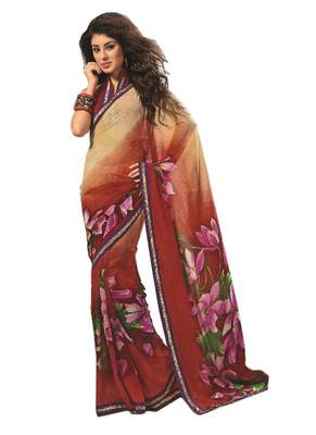 Bollywood Designer Weightless Georgette Saree With Elegant Border & Blouse Piece 4024A