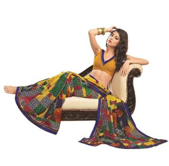 Bollywood Designer Weightless Georgette Saree With Elegant Border & Blouse Piece 4025A