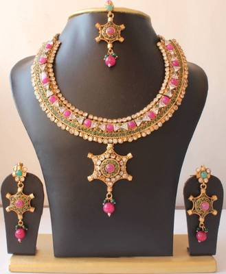 GORGEOUS BRIDAL POLKI STONE MULTICOLOR NECKLACE SET