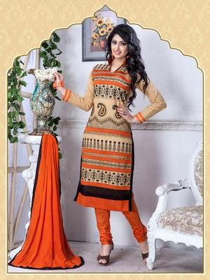 Beige Embroidered Chanderi And Cotton Unstitched Salwar With Dupatta