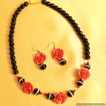 Black Onyx Rose Cut Coral Necklace Set