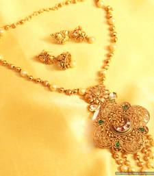 Buy Gold look Filigree Kundan Pendant Set  necklace-set online