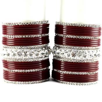 personalized acrylic metel bangles set colour maroon size-2.4,2.6,2.8,2.10