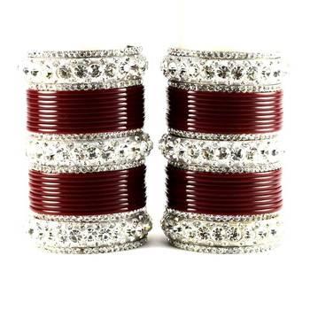 personalized acrylic metel suhag punjabi bridal bangles set colour maroon  size-2.4,2.6,2.8,2.10