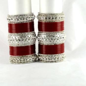 personalized acrylic metel suhag punjabi bridal bangles set colour red  size-2.4,2.6,2.8,2.10