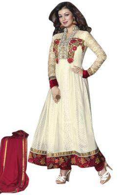 Triveni White Net Chiffon Embroidred Salwar Kameez - TSVNSK1322