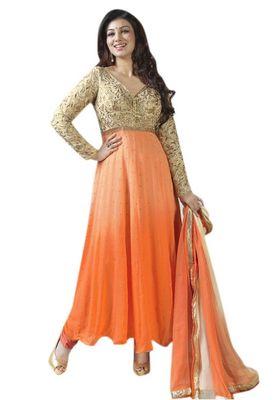 Triveni Orange Faux Georgette Chiffon Embroidred Salwar Kameez - TSVNSK1323
