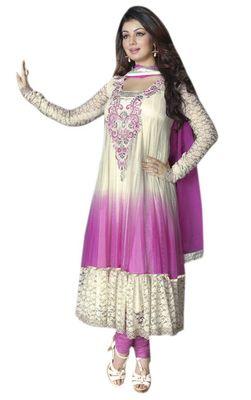 Triveni Cream Net Chiffon Embroidred Salwar Kameez - TSVNSK1325