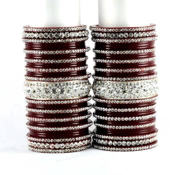 personalized acrylic suhag punjabi bridal bangles set colour maroon  size-2.4,2.6,2.8,2.10