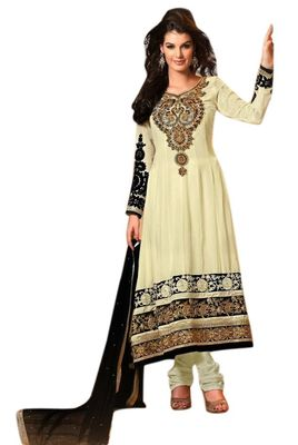 Triveni Cream Faux Georgette Embroidered Salwar Kameez - TSMESK17534
