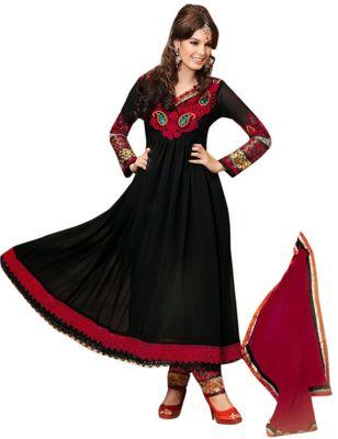 Triveni Black Faux Georgette Embroidered Salwar Kameez - TSMESK17536