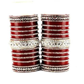 personalized acrylic suhag punjabi bridal bangles set colour red  size-2.4,2.6,2.8,2.10