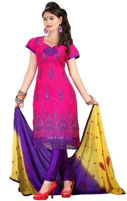 Triveni Magenta Chanderi Silk Embroidered Salwar Kameez - TSMESK17588
