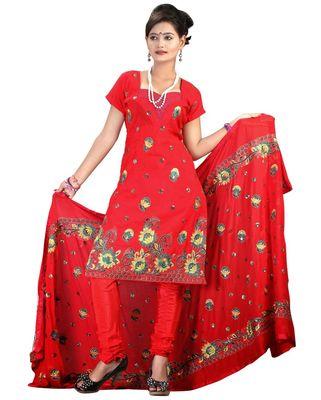 Triveni Red Chanderi Silk Embroidered Salwar Kameez - TSMESK17590