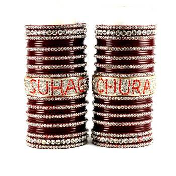 personalized name bangles set  with Rhinestones embedded in names colour maroon size-2.4,2.6,2.8,2.10