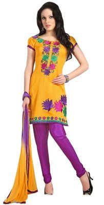 Triveni Yellow Chanderi Embroidered Salwar Kameez - TSMESK17595