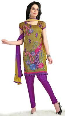 Triveni Green Chanderi Embroidered Salwar Kameez - TSMESK17598