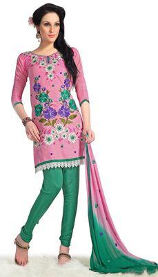Triveni Pink Chanderi Embroidered Salwar Kameez - TSMESK17599