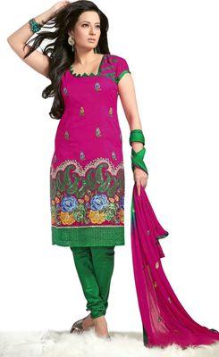 Triveni Magenta Chanderi Embroidered Salwar Kameez - TSMESK17601