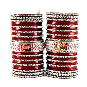 personalized photo bangles set  with Rhinestones embedded  colour red size-2.4,2.6,2.8,2.10