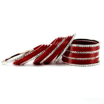 brass acrylic metel bangles  set  colour red size-2.4,2.6,2.8,2.10