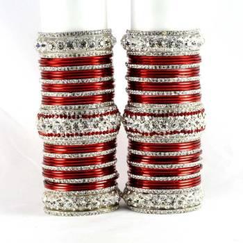 personalized brass metel suhag punjabi bridal bangles set colour maroon  size-2.4,2.6,2.8,2.10