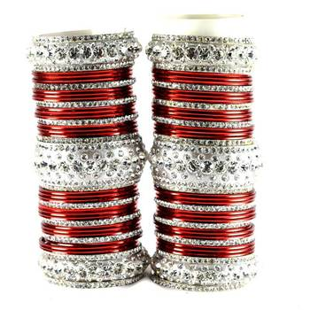 personalized brass metel suhag punjabi bridal bangles set colour maroon  size-2.4,2.6,2.8,2.10