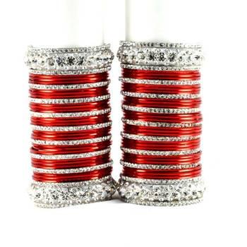 personalized brass metel suhag punjabi bridal bangles set colour red  size-2.4,2.6,2.8,2.10