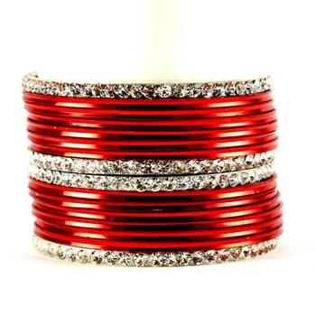 metel rhinestones churi bangles set colour red  size-2.4,2.6,2.8,2.10