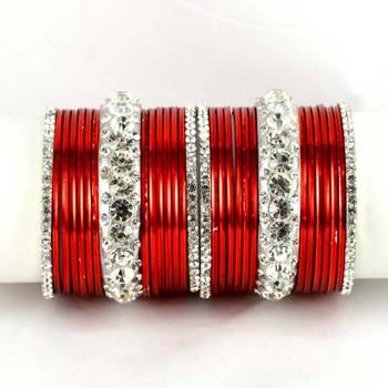 Metel Kara Churi Bangles Set Colour Red