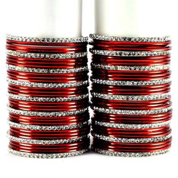 metel rhinestones churi bangles set colour maroon  size-2.4,2.6,2.8,2.10