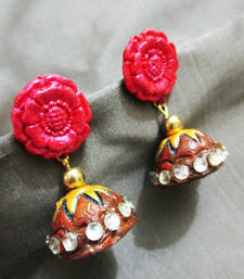 Buy Flower Terracotta Jhumka terracotta-jewelry online