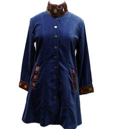 Buy Velvet With Embroided patch work Jaket kurtas-and-kurti online