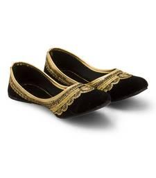 Buy Black Velvet party wear traditional footwear for women bellies-shoe online