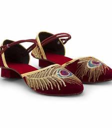Buy Maroon Synthetic Leather wedding wear traditional footwear for women eid-footwear online