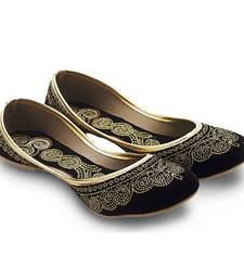 Buy Black Velvet party wear traditional footwear for women bellies-shoe online