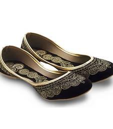 Buy Black Velvet party wear traditional footwear for women wedding-season-sale online