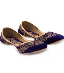 Buy Blue Velvet party wear traditional footwear for women bellies-shoe online
