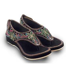 Buy multicolor Velvet party wear traditional footwear for women wedges-shoe online