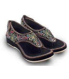 multicolor Velvet party wear traditional footwear for women