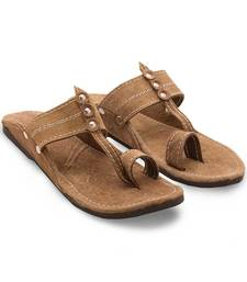 Buy Brown Synthetic Leather casual wear traditional footwear for men footwear online