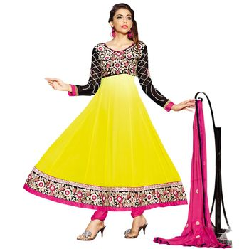 Hypnotex Georgette Yellow Color Designer Dress Material Ruby2001