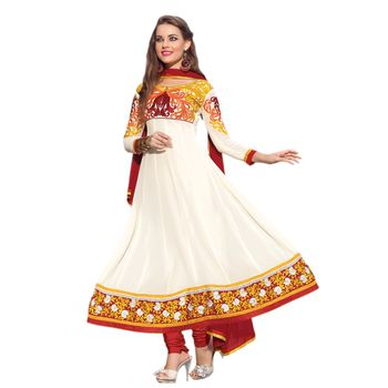Hypnotex Georgette Off White Color Designer Dress Material Ruby2004