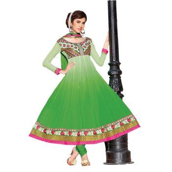Hypnotex Georgette Green Color Designer Dress Material Ruby2006