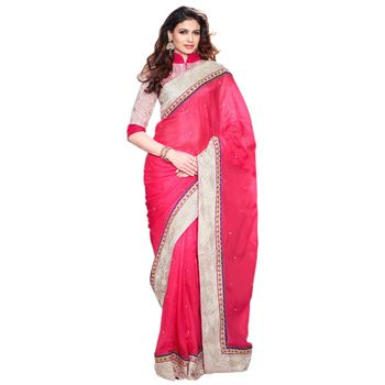 Hypnotex Pure Silk Pink Color Designer Saree Visu27001
